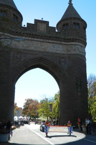 The 2012 Veterans Parade in Hartford, Conn. passes through the Soldiers and Sailors Memorial Arch.