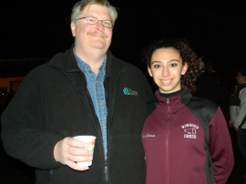 enjoying hot chocolate, Ron Eleverd and his daughter Analiese.