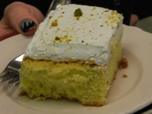 Pistachio cake topped off the st. Patrick's Day meal at Rein's Deli.