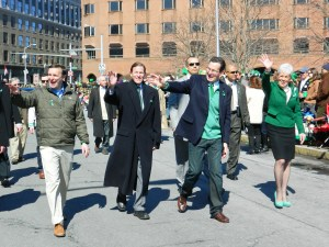 Senators Chris Murphy and Richard BLumenthal march with Gov. Dannel malloy and Lt. Gov. Nancy Wyman.