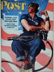 """Rosie the Riveter"" on The Saturday Evening Post. (From Pop History Digs)"
