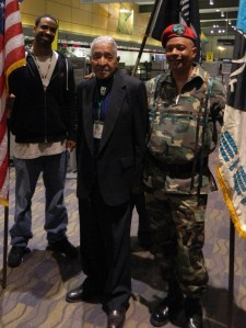 WWII veteran Ray Colebut (center) of the Masantucket Pequot Trial Nation