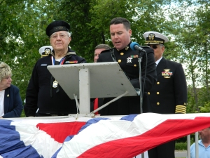 State Rep. David Alexander, a captain in the Marine Corps Reserve speaks during 2013 Enfield, CT Memorial Day Ceremony.