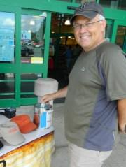 Steve Jandreau makes a donation.