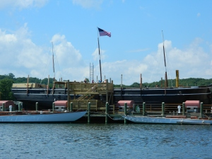 The Charles W. Morgan shown at Chubb's Wharf in Mystic Seaport Museum will be launched July 21 after a multi-year restoration project.