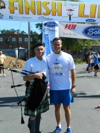 Bagpiper Pat Whelan with Dan Nolan.