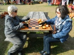 A game of pumpkin checkers