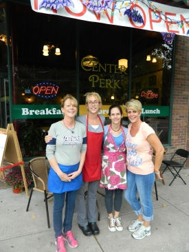 It's a 'sister act' - Donna, Kim, Christine and Joni - at Center Perk in downtown Manchester, Connecticut.