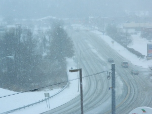 Bird's eye view of Hale Road, Manchester, CT as the Jan. 2 , 2014 snowstorm gets underway.