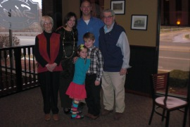 Daughter-in-law Jane, granddaughter-in-law Linda, grandson Eric, son John and great grandchildren Lillian and Jack.