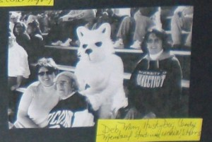 Deb with Mom/Nana, the UConn Husky dog and Candy at Memorial Stadium in Storrs, CT.