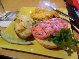 Yum! Grilled chicken with melted cheddar and a twice baked potato.