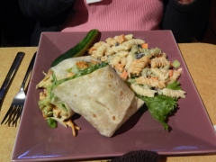 Wrap with pasta salad.