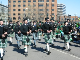 Bagpipers in kilts.