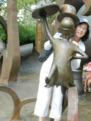 My sister Candy in the Dr. Seuss National Memorial Sculpture Garden in Springfield, MA.