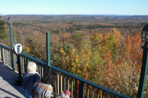 My sisters Dixie and Candy with my mother looking out over Hogback Mountain in Vermont in October, 2010.