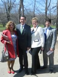 Susan Martucci, Gov. Dannel Malloy, Diane Deluziio, and Mayor Daniel Drew.