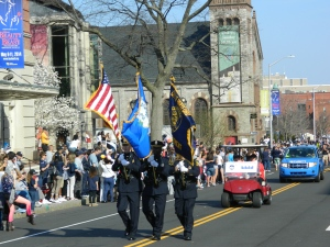 Hartford Police Color Guard leading the parade,