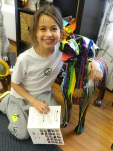 "Lia Ernest, 9, was on the ""Raining Cats and Dogs"" hunt, April 14 at the Windsor Connecticut Chamber of Commerce office."