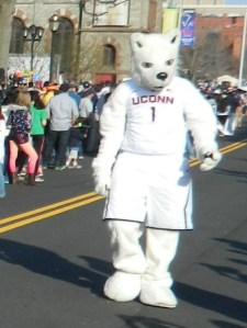 Here comes the still happy face UConn Husky dog mascot!