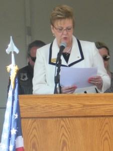 Gold Star Mother Diane Deluzzio reads the names of the 65 fallen.