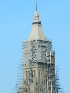 Scaffolding surrounds the Travelers Tower in Hartford, Connecticut on April 13, 2014 as part of a $30 million restoration project.