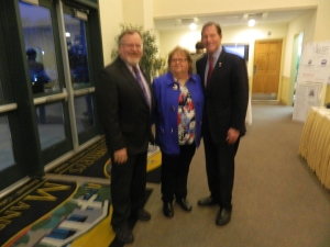 Mayor Donald Trinks, Executive Director of the Windsor Chamber of Commerce Jane Garibay and Sen, Richard Blumenthal.