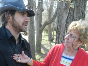 Purple Heart recipient Matt Mcdonald served two tours of duty in Iraq, shown with Ann Walsh of Windsor CT, a member of the CTHM Committee.
