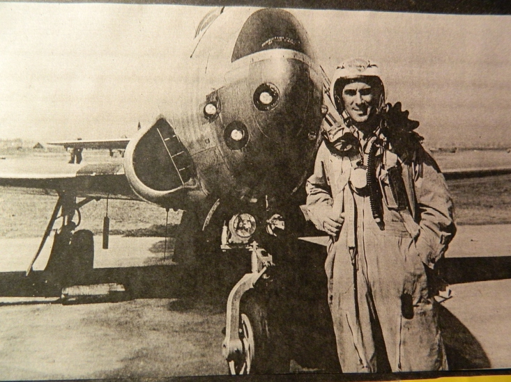 'Uncle Bunker', Oliver E. Generous, a WWII fighter pilot, shown with one of his jets.