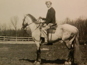 Dad/Big Johnny on horseback. He grew up on sunnycrest Farm in Upstate new York and would have enjoyed watching American Ph win the Triple Crown.