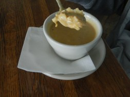 Delectable Lobster Bisque with huge chuncks of lobster.