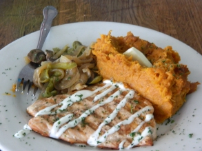Salmon and mashed sweet potato.