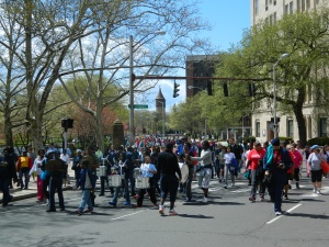 Walkers made their way around Bushnell Park.