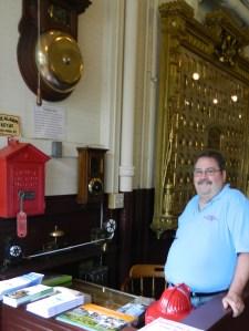 Gary Pinkham mans the Fire Museum watch desk.