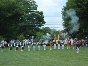 As host of a July 26 muster, the Colchester Continentals Fife & Drum Corps gave an opening musket salute.