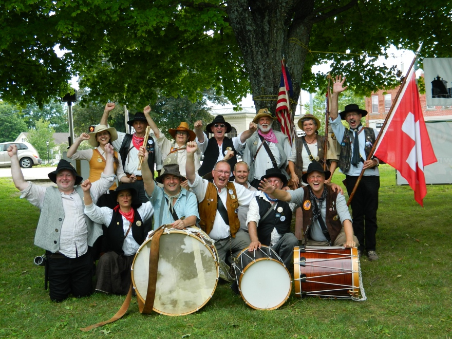 The Wild Bunch, a Swiss-American Fife & Drum corps show some spirit at the annual muster in Colchester, Connecticut held July 26, 2014.