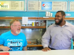 Mayor Don Trinks and Chris Baker share a laugh.