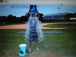 UConn Head Baseball Coach Jim Penders took the Ice Bucket Challenge.