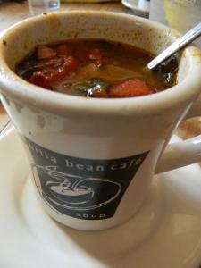 Homemade sauage, vegetable, pasta soup - scrupticous.