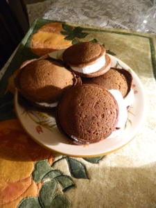 Pumpkin Spice Whoopie Pies with marshmallow filling.