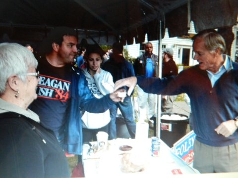 Former state representative Ruth Fahrbach and GOP State Central Committee member Mike McDonald serve up chili to Republican gubernatorial candidate Tome Foley at the Windsor Republican's booth.