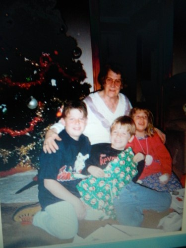 Cranberry Bacon Reduction from her great-grandson Nathan has been added to Mom's Recipe Box. ( When they were children, Nathan (middle) with his brother Dan and sister Katie surround Nana with love at Christmas).