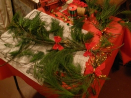 Holiday evergreen sprays made by Candy.