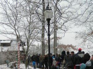 a line of visitors waits on Sunday, December 22, 2014 for the delightful experience that is Santa's Workshop at Wickham Park located on the East Hartford and Manchester town line in Connecticut.