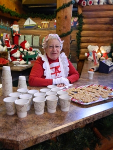 Mrs. Claus, a.ka. Geraldine Cyr of Manchester handed out hot chocolate and cookies.