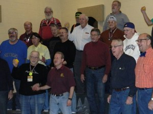 "Members of the Silk City chorus crone out ""Rubber Duckie Your the One"" January 19, 2015 at the Second Congregational Church rehersal hall in Manchester, Connecticut."