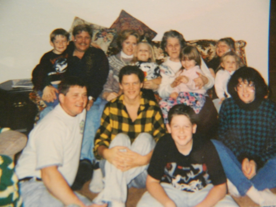 Nathan, Wayne, Jackie, Michelle, Mom/Nana holding   , Katie, Maryann, Mike, Melane and Dan.