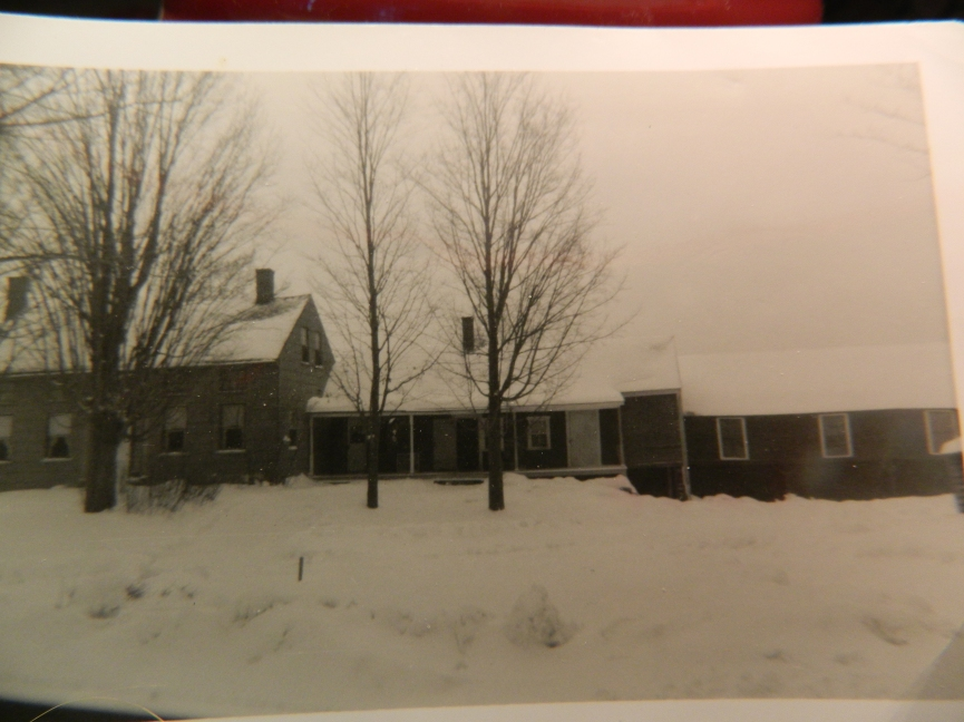 A winter scene of the Bennett Family Farm in New Hampshire - cherished memories of a dostant vista of the White Mountains and indoors, of all of us gathered around Uncle Bob and Aunt Vi's kitchen table looking through family photo albums