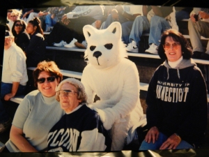 Deb, Mom/Nana, UConn Husky & Candy at Memorial Stadium, Storrs, CT.