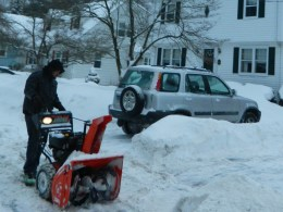 Snowblowers are a common sight in the central Connecticut part of New England this time of year.